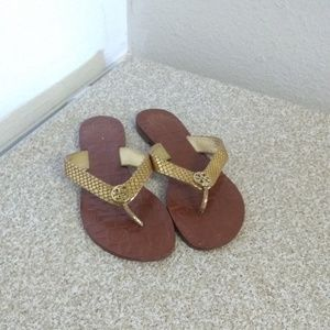 Tory Burch Gold Embossed Leather Sandals